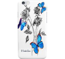 Morph Butterflies on Black and White Roses iPhone Case/Skin