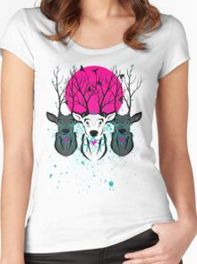 Roots To Grow and Wings To Fly (Three Deer Twilight) Women's Fitted Scoop T-Shirt