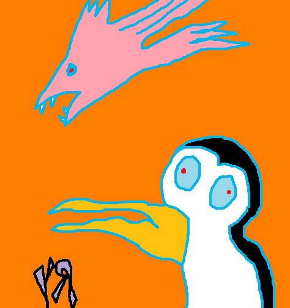"""Scary Bird-Fish and Penguin"" by Richard F. Yates by richardfyates"