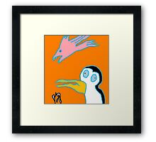 """""""Scary Bird-Fish and Penguin"""" by Richard F. Yates Framed Print"""