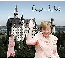 Angela and the castle of Neuschwanstein  Photographic Print