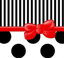 Ribbon, Bow, Polka Dots, Stripes - Black White Red by sitnica