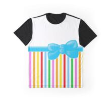 Ribbon, Bow, Stripes - Blue Yellow Green Red Graphic T-Shirt