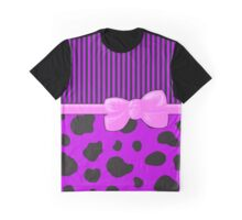 Ribbon, Bow, Cow Print, Stripes - Purple Black Pink Graphic T-Shirt