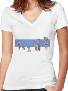 Cats, Cars, Fantasy and Football Women's Fitted V-Neck T-Shirt