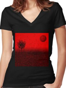 Within the red wood of nowhere Women's Fitted V-Neck T-Shirt