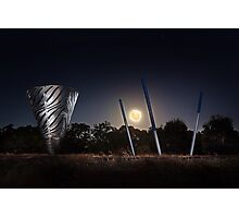Moonrise Over Water Dance Sculptures  Photographic Print
