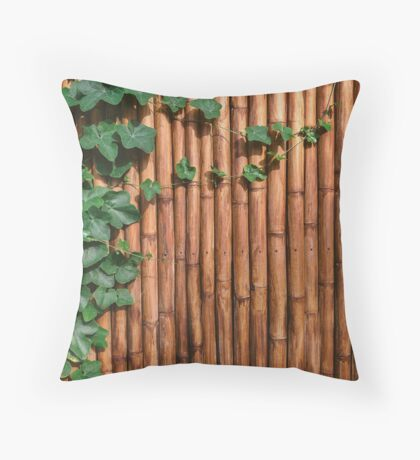 Bamboo Wall With Green Ivy Throw Pillow