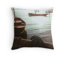 Boats at Sunset Throw Pillow