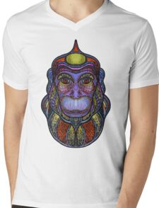 Psychedelic monkey Mens V-Neck T-Shirt