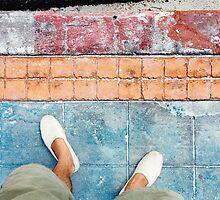 Man Wearing Espadrilles on Colored Sidewalk by visualspectrum