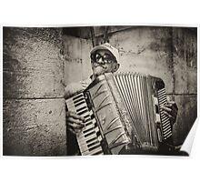 Street accordionist in Havana Poster