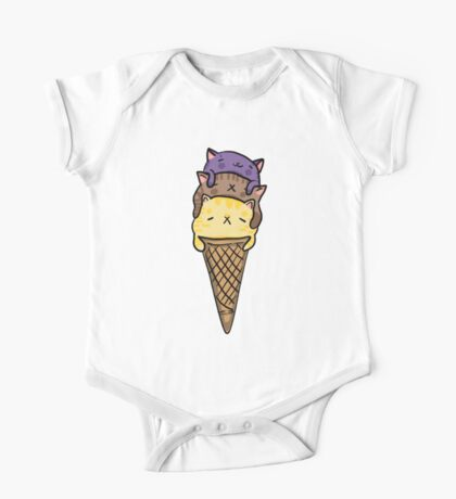 Dirty Ice Cream Cats One Piece - Short Sleeve