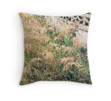 Grass Meadow And Old Wall Throw Pillow