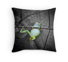 Swinging frog Throw Pillow