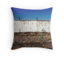 Wall With Barbed Wire Throw Pillow