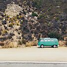 Turquoise VW Camper Van by visualspectrum