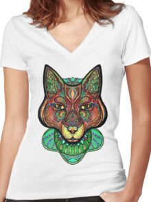 Psychedelic fox Women's Fitted V-Neck T-Shirt