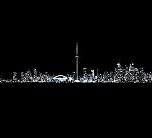 Toronto Skyline At Night From Centre Island Mono by Brian Carson