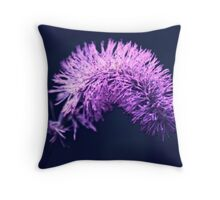 Violet flowers on dark background Throw Pillow