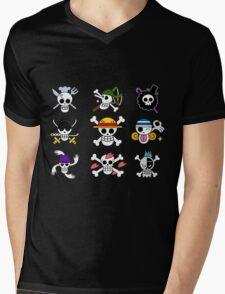 Straw Hat Pirate Badges Mens V-Neck T-Shirt