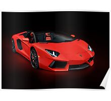 Red Lamborghini Aventador LP 700-4 Roadster sports car art photo print Poster