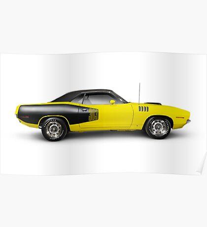 1972 Dodge Challenger retro muscle car art photo print Poster