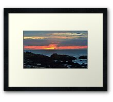 beach red and orange sunset Framed Print