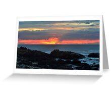 beach red and orange sunset Greeting Card