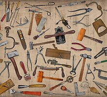 Vintage Tools. Good Old Days. Collage. by Val Goretsky