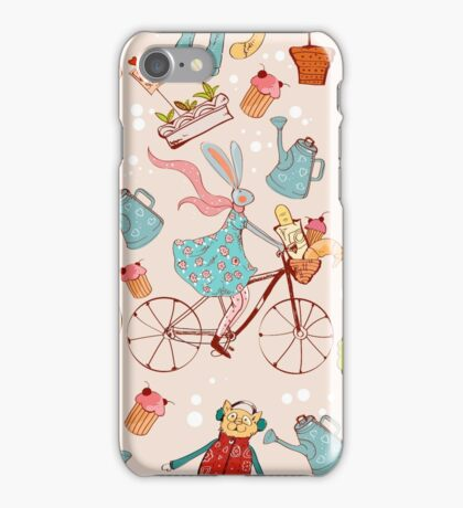 rabbit on bisycle iPhone Case/Skin