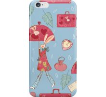 Rabbit with pink umbrella iPhone Case/Skin