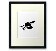 Baseball cap hat bat Framed Print