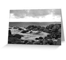 black & white ocean and rocks Greeting Card