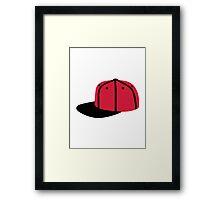 Red black Baseball Cap Hat Framed Print