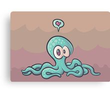 cute octopus in love Canvas Print