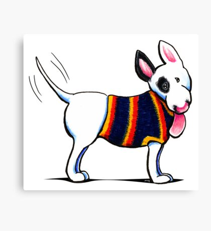 Bull Terrier in Blue Canvas Print