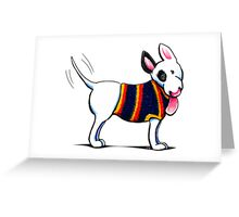 Bull Terrier in Blue Greeting Card