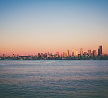 Seattle at Sunset by pinklilypress