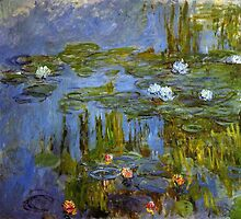 Claude Monet, 1917.   Waterlily oil on canvas.  Vintage floral botanical fine art oil painting. by naturematters