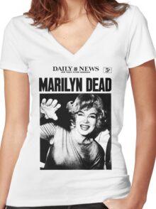 Marilyn Monroe - DEAD - Newspaper Women's Fitted V-Neck T-Shirt