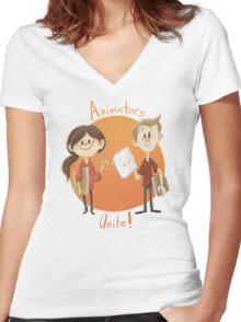 Animators Unite Women's Fitted V-Neck T-Shirt