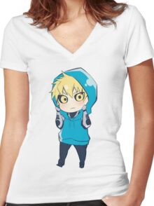 Genos - One Punch Man Women's Fitted V-Neck T-Shirt