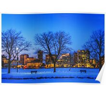 Cold view Warm city lights Poster