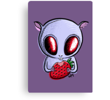 cute hamster with a strawberry Canvas Print