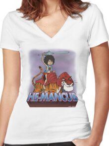 He-Mancub Women's Fitted V-Neck T-Shirt