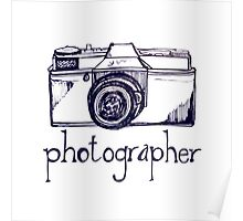 Photogrpaher and vintage camera Poster