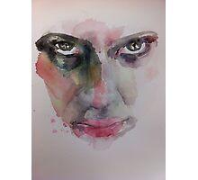 Watercolor Face Intense Stare  Photographic Print