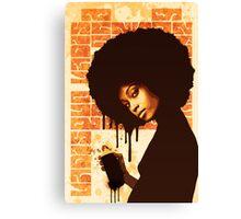 'SPRAY CAN GIRL' (yellow) Canvas Print