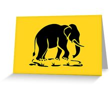 Asian Elephants Ahead / Thai Elephant Trekking Traffic Sign Greeting Card